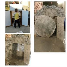Cardboard box turned into Jesus' tomb for Easter play prop - turn baptismal alcove into empty tomb front. Easter Projects, Easter Crafts, Easter Ideas, Easter Decor, Jesus Tomb, Maker Fun Factory Vbs, Easter Play, Children's Church Crafts, Church Events