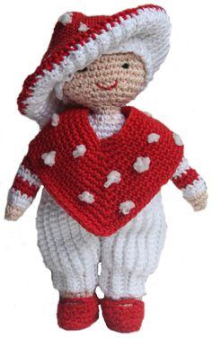 Vliegenzwam popje, haakpatroon, haken, herfst, popje, amigurumi Crochet Baby, Free Crochet, Knit Crochet, Crochet Mushroom, Crochet Animals, Doll Toys, Knitting Patterns, Winter Hats, Teddy Bear