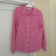 J. Crew Perfect Shirt J. Crew Perfect shirt. Pink gingham. Size 8 J. Crew Tops Button Down Shirts
