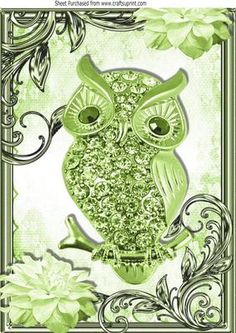 green sparkle owl with flowers in ornate frame A4 on Craftsuprint - Add To Basket!