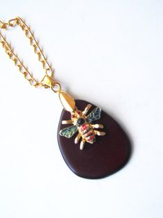 Bee Necklace, Brown Organic Necklace, Organic Jewelry, Vegan Jewelry, Bee…