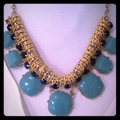 Turquoise and gold statement necklace. Turquoise and gold statement necklace. Jewelry Necklaces