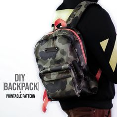 Backpack DIY + Printable Pattern - Mochila You are in the right place about diy face mask Here we offer you the most beautiful picture - Backpack Tutorial, Diy Backpack, Fashion Backpack, Mochila Tutorial, Mochila Jeans, Bag Patterns To Sew, Backpack Sewing Patterns, Leather Backpack Pattern, Pattern Sewing
