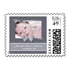 Elegant grey photo birth announcement postage stamps with a silver ribbon bow design. Personalize by adding your newborn baby picture, baby name, and birth date. http://www.zazzle.com/elegant_photo_birth_announcement_silver_ribbon_postage-172451827983550028?rf=238835258815790439&tc=ptkpin1