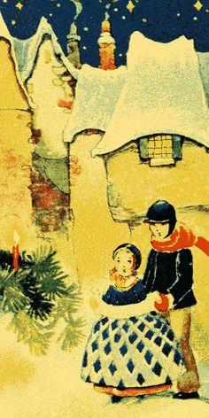 .Children in the snow - vintage card