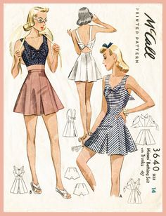 2473a17911 40s 1940s repro vintage women s sewing pattern crop top playsuit shorts  beach romper bust 32 b32