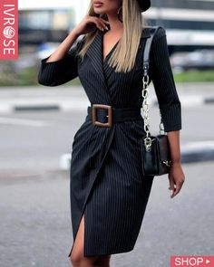 boutiquefeel / V Neck Striped Long Sleeve Blazer Dress Mode Outfits, Fashion Outfits, Womens Fashion, Fashion Tips, Fashion Trends, Fashion Beauty, Fashion Inspiration, Ladies Fashion, Fashion Styles