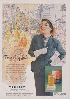 1950 Yardley Bond Street Perfume Ad Haute Couture by AdVintageCom