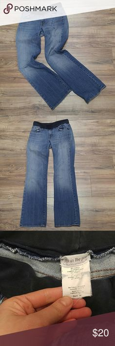 """Pea in the pod 7 for all Mankind maternity jeans Size 30 with 32"""" inseam. 7 for all Manking for Pea in the Pod. This brand typically retails for close to $200. Fraying on back bottom hem is only damage. And distressed details at pockets and fading on legs was part of manufacturing. Under belly band. 7 For All Mankind Jeans"""