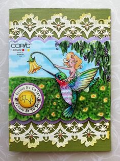 Un colibrì colorato .flying by to say hi! Sweet November, Bird Cards, Marianne Design, Copics, Say Hi, Cute Cards, Hummingbird, Wings, Handmade