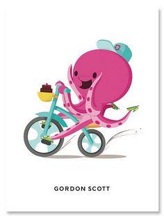 feliz como pulpo andando en bicicleta!