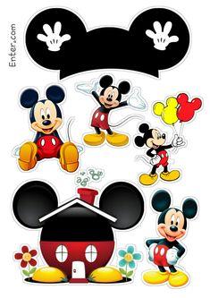 Topo de bolo Mickey Bolo Mickey Baby, Bolo Do Mickey Mouse, Mickey Mouse Crafts, Fiesta Mickey Mouse, Disney Mickey Mouse, Disney Cars, Theme Mickey, Mickey Party, Mickey Mouse Birthday