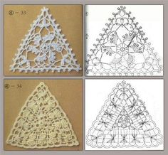 Beautiful crochet pattern and loads more on this site. It is in Russian (?) but loads of patterns, if you can read them. Crochet Triangle Pattern, Crochet Diagram, Crochet Chart, Crochet Motif, Crochet Doilies, Diy Crochet And Knitting, Thread Crochet, Love Crochet, Crochet Free Patterns