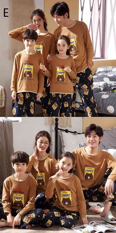 Parent-child pajamas long-sleeved trousers family wear cartoon home service on sale Mens Silk Pajamas, Cotton Pyjamas, Summer Pajamas, Boys Pajamas, Kids Board, Lounge Pants, Kids And Parenting, Pajama Set, Trousers