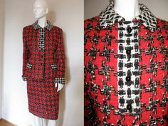 Vintage 1970s 1980s Bill Blass Designer Houndstooth Skirt Suit with Contrasting Fabric Detail on Jacket Absolutely Stunning Bust 42 Waist 30
