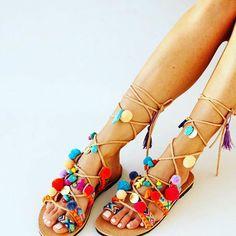 Ibiza Pom Pom Sandals #santamargueritelabel