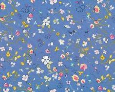 Feiner Popeline-Patchworkstoff Floressence mit Streublümchen, taubenblau-gelb