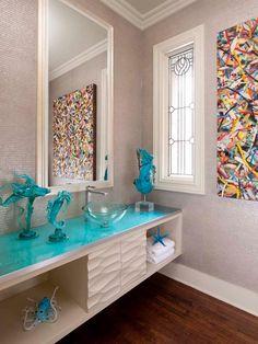 Strait Lane Estate - contemporary - powder room - dallas - by Mary Anne Smiley Interiors Diy 2019, Deco Marine, Bathroom Images, Bathroom Ideas, Bathroom Designs, Glass Countertops, Modern Farmhouse Design, Open Cabinets, Bathroom Renos