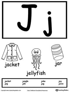 Letter J Printable Alphabet Flash Cards for Preschoolers