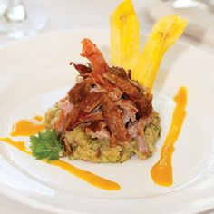 Puerto Rican roast pork with mofongo (deep-fried green plantains).