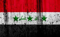 Download wallpapers Iraqi flag, 4k, grunge, flag of Iraq, Asia, Iraq, national symbols, Iraq national flag