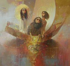 Fishermen by Oleksandr Antonyuk. Catholic Art, Religious Art, Art And Illustration, Jesus Painting, Deep Art, Jesus Christus, Jesus Art, Biblical Art, Spirited Art