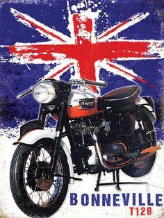 'Bonneville Graphic Art Print on Metal Borough Wharf Size: H x W British Motorcycles, Triumph Motorcycles, Vintage Advertising Signs, Vintage Advertisements, Moto Triumph Bonneville, Deco Retro, Pub Decor, Vintage Cycles, Metal Plaque