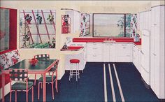 What The American Kitchen >=< Looked Like >=< The Year You Were Born >=< 1944 Hotpoint Kitchen Source: Better Homes & Gardens From the Mid Century Home Style Collection Vintage Room, Vintage Kitchen, Vintage Decor, 1940s Kitchen, Vintage Houses, Retro Kitchens, Red Kitchen, Dream Kitchens, Kitchen Floor