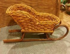 Vintage Wicker and wood Sled / santa's sled / by VeneciaArt
