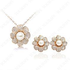 Fashion Noble and elegant 18K Rose Gold Plated Swarovski Crystal Pearl Flower Necklace Earing Sets S223R1