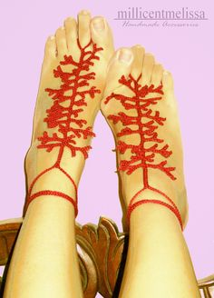Crochet Barefoot Sandals Pattern Free | Barefoot Sandals in Red Coral