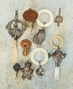 Collection of Seven Antique Baby Rattles 500/800