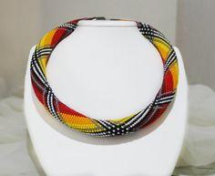 Bead Crochet rope, Crochet Beaded Necklace, Beadwork necklace, Crochet Necklace, Beadwork necklace, Geometric jewelry