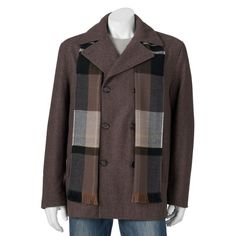 Big & Tall Towne Wool-Blend Double-Breasted Peacoat with Plaid Scarf, Men's, Size: Xl Tall, Med Brown