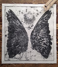 back patch - bird wings and crescent moon, sew on punk patch