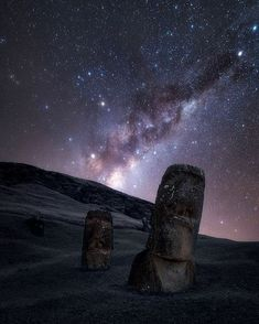 """""""The feeling you get when you visit this huge archaeological site is quite shocking. In Rano Raraku there are 397 moai in various stages of development and it seems as if the sculptors left the job abruptly and could come back at any moment. Milky Chance, Milky Way Photography, Night Photography, Nocturne, Cosmos, Easter Island Statues, Science Fiction, Landscape Pictures, Archaeological Site"""