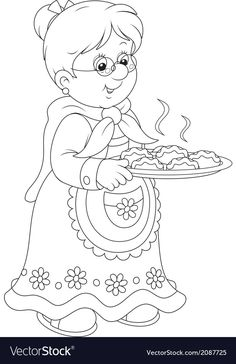 Granny with pies Royalty Free Vector Image - VectorStock Christmas Yard Art, Christmas Drawing, Christmas Colors, Cute Coloring Pages, Coloring Books, Colorful Drawings, Colorful Pictures, Grandparents Day Crafts, Christmas Coloring Sheets