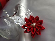 Hair Clip Red White Kanzashi Flower with by LihiniCreations