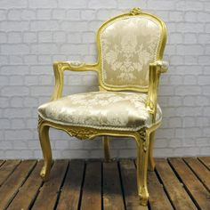 Antique Gold Finish French Style Louis Arm Chair with Cream Damask Fabric