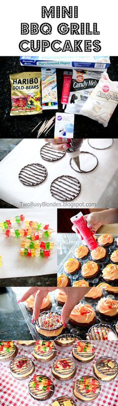BBQ time!! Super cute cupcake tutorial  Mini bbq GRILL tops. Steaks and hamburgers made with candy melts and kabobs  with gummy bears. I love these!