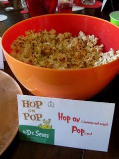 Dr. Seuss party food: Hop on Pop(corn)