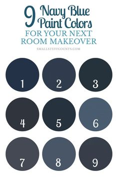 Have a painting project coming up? Here are 9 beautiful navy blue paint colors for your home decor. Have a painting proj Navy Paint Colors, Valspar Paint Colors, Cabinet Paint Colors, Room Paint Colors, Paint Colors For Home, House Colors, Navy Blue Rooms, Navy Blue Walls, Dark Navy Blue