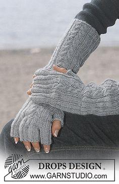 4-2_medium gray finger tips open gloves to elbow gray grey color yarn  Drops Design  www Garn Studio .Com May 2015