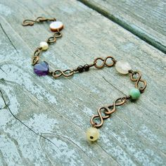 Mixed Stone Beads and Wire Wrapped Copper bracelet with
