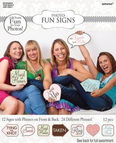 Bridal Shower Photo Fun Signs | 12ct