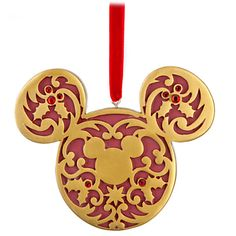 Disney Victorian Icon Mickey Mouse Ornament, Red and Gold - Item No. 7509002522627P, $7.99 sale $12.95, 3 1/2'' H x 4 1/2'' W x 1/4'' D