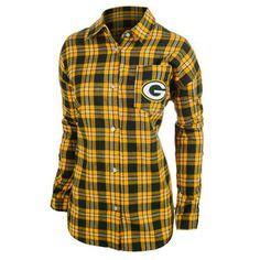 Women's Green Bay Packers Klew Green/Yellow Wordmark Flannel Long Sleeve Shirt