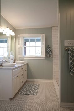 Soothing, clean, timeless bathroom....As seen on HGTV's Fixer Upper