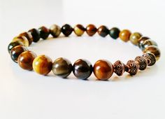 Men's Earth Tone Jasper Stretch Bracelet listing at https://www.etsy.com/listing/214678740/mens-jasper-bracelet-earth-tone-red