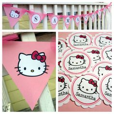 Custom Birthday Party Decorations ~ Handmade Hello Kitty banner and custom name party confetti!  Visit my blog http://missymadeit.blogspot.com for more custom party idea!  Also visit my shop www.missymadeit.com for super cute handmade party decorations!  My handmade items will add a festive touch to your birthday party, baby shower, wedding shower, wedding and any other celebration you may have!